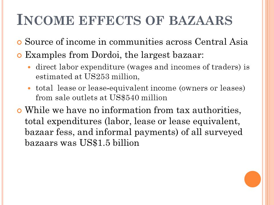 I NCOME EFFECTS OF BAZAARS Source of income in communities across Central Asia Examples from Dordoi, the largest bazaar: direct labor expenditure (wages and incomes of traders) is estimated at US253 million, total lease or lease-equivalent income (owners or leases) from sale outlets at US$540 million While we have no information from tax authorities, total expenditures (labor, lease or lease equivalent, bazaar fess, and informal payments) of all surveyed bazaars was US$1.5 billion