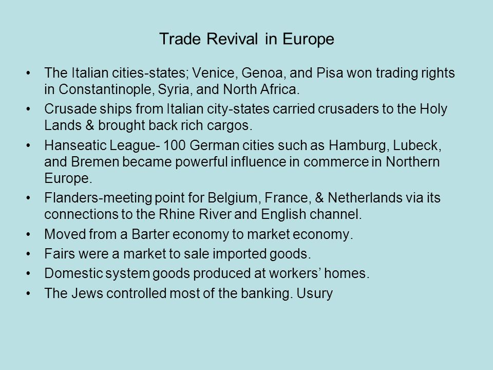 Review Questions Section 2: Revival of Trade 1.Why did the growth of trade increase in the 11c.
