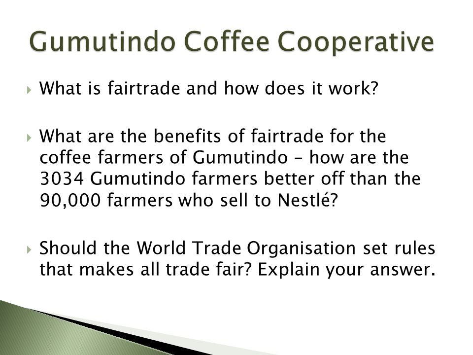  What is fairtrade and how does it work?  What are the benefits of fairtrade for the coffee farmers of Gumutindo – how are the 3034 Gumutindo farmer