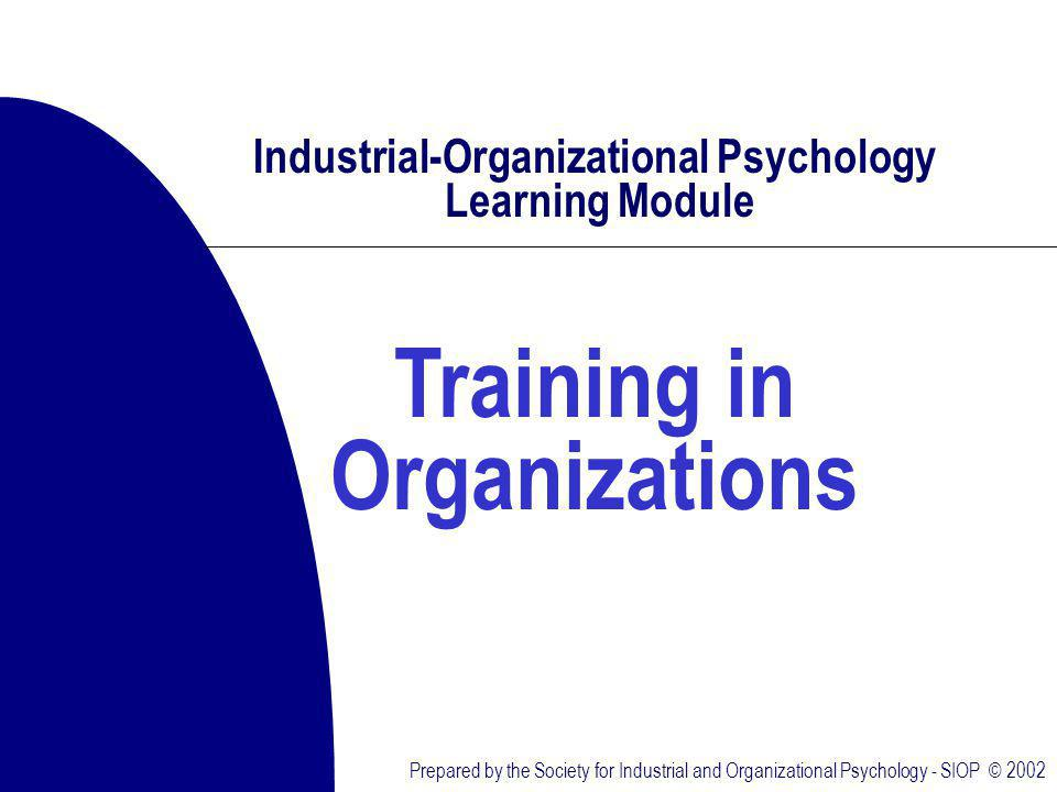 Prepared by the Society for Industrial and Organizational Psychology - SIOP © 2002 Industrial-Organizational Psychology Learning Module Training in Organizations