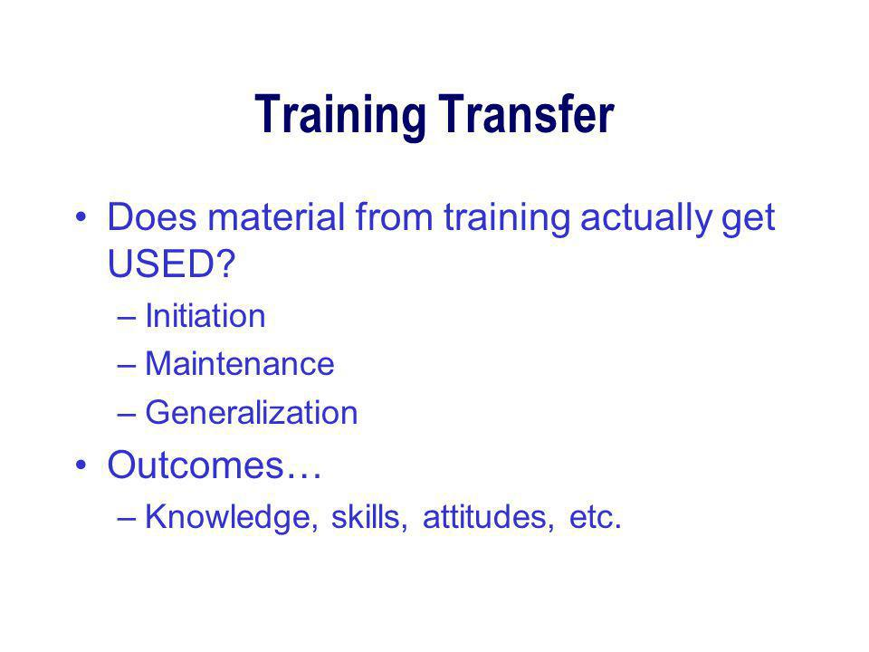 Training Transfer Does material from training actually get USED.