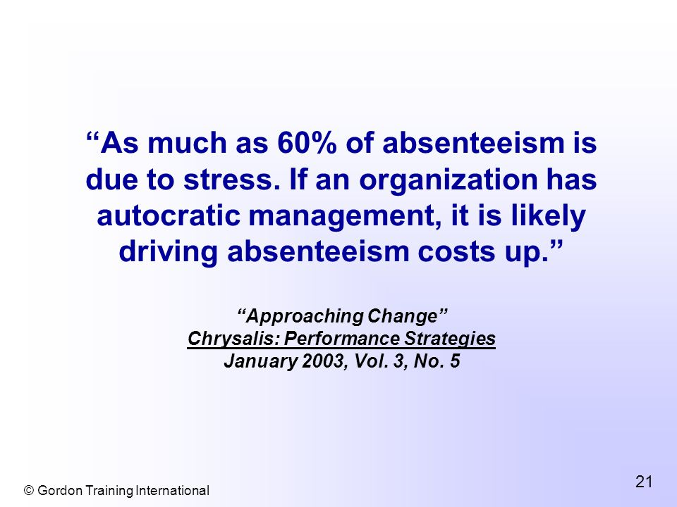 © Gordon Training International 21 As much as 60% of absenteeism is due to stress.