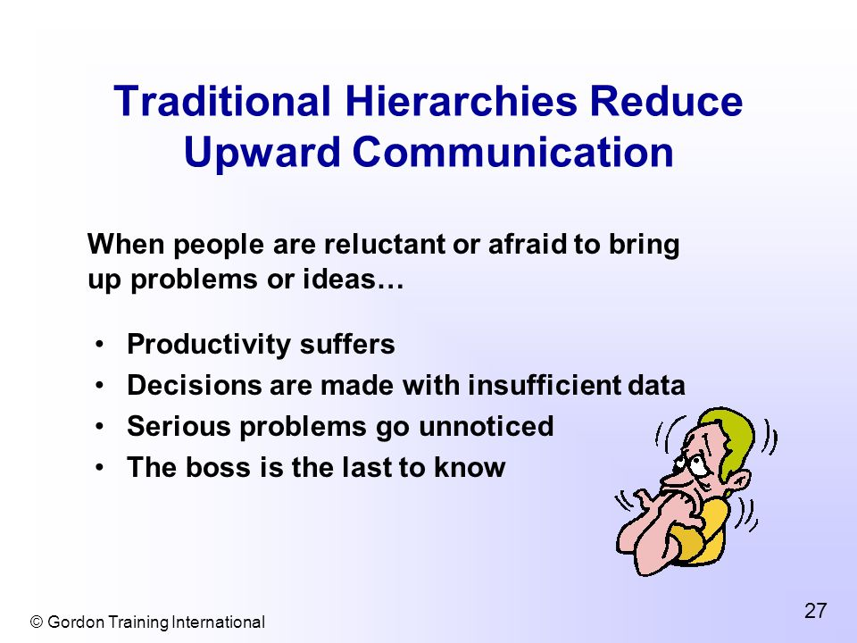 © Gordon Training International 27 Traditional Hierarchies Reduce Upward Communication Productivity suffers Decisions are made with insufficient data Serious problems go unnoticed The boss is the last to know When people are reluctant or afraid to bring up problems or ideas…