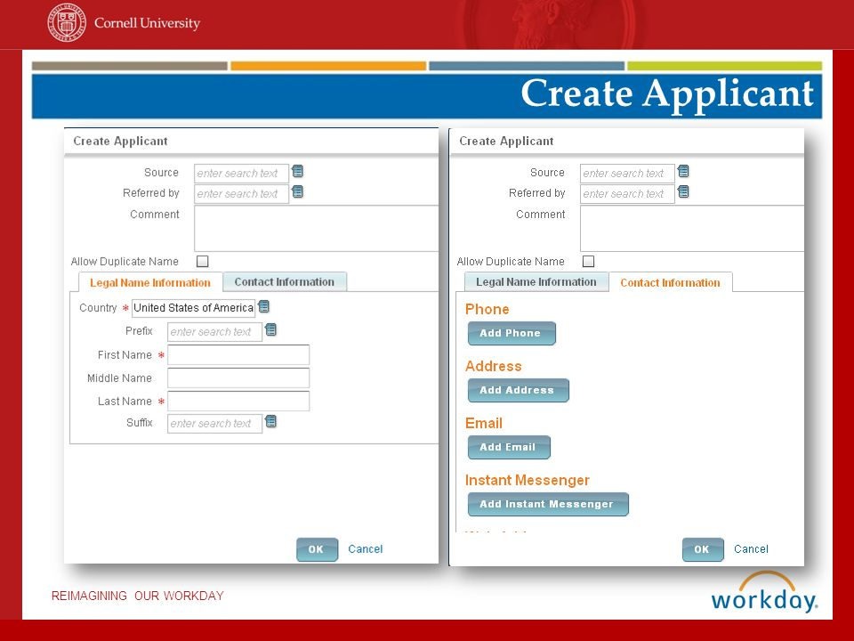 REIMAGINING OUR WORKDAY Create Applicant