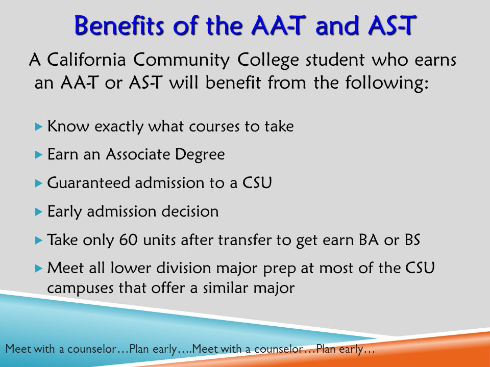 A California Community College student who earns an AA-T or AS-T will benefit from the following:  Know exactly what courses to take  Earn an Associate Degree  Guaranteed admission to a CSU  Early admission decision  Take only 60 units after transfer to get earn BA or BS  Meet all lower division major prep at most of the CSU campuses that offer a similar major Benefits of the AA-T and AS-T Meet with a counselor…Plan early….Meet with a counselor…Plan early…