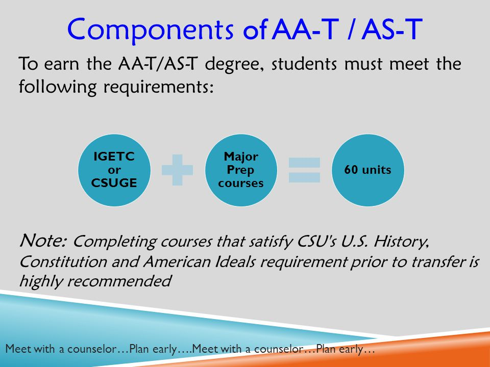 To earn the AA-T/AS-T degree, students must meet the following requirements: Note: Completing courses that satisfy CSU s U.S.