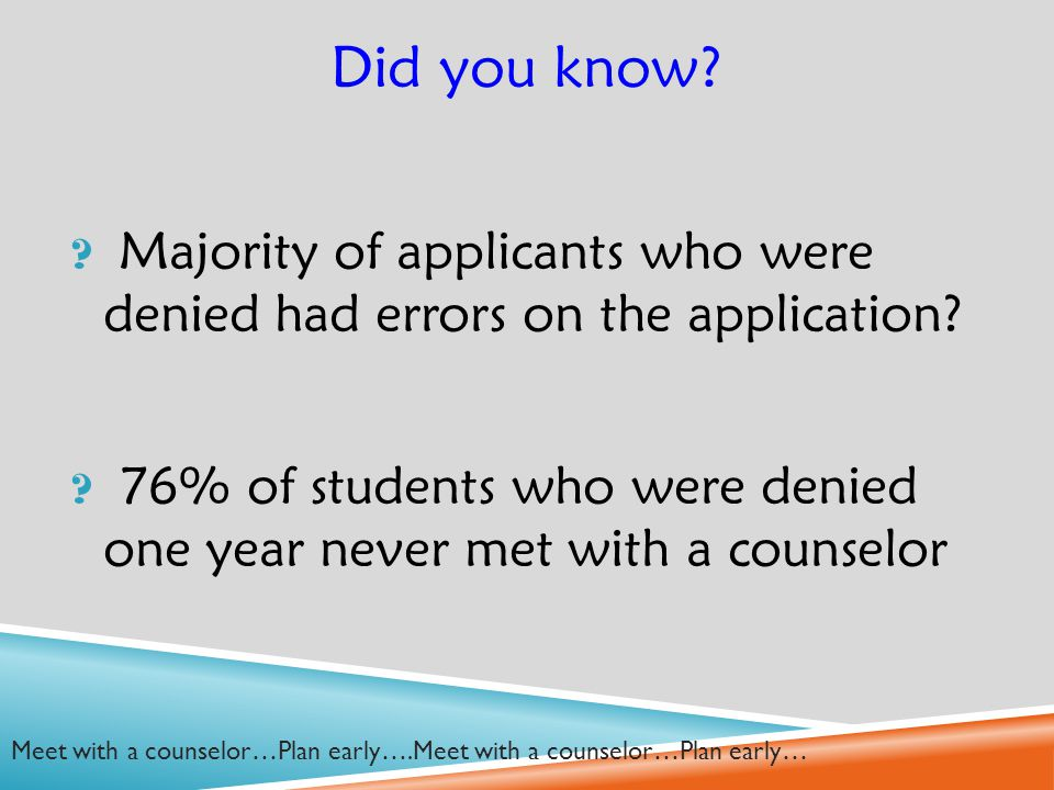 Did you know. Majority of applicants who were denied had errors on the application.