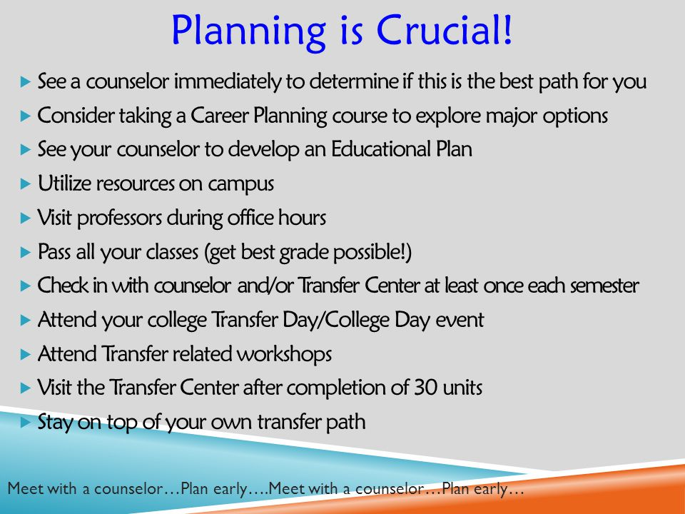  See a counselor immediately to determine if this is the best path for you  Consider taking a Career Planning course to explore major options  See your counselor to develop an Educational Plan  Utilize resources on campus  Visit professors during office hours  Pass all your classes (get best grade possible!)  Check in with counselor and/or Transfer Center at least once each semester  Attend your college Transfer Day/College Day event  Attend Transfer related workshops  Visit the Transfer Center after completion of 30 units  Stay on top of your own transfer path Planning is Crucial.