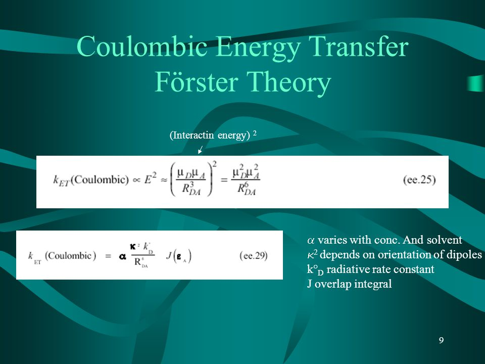 10 Efficiency of Energy Transfer by Dipole-Dipole Mechanism R 0 is distance at which ET is 50% efficient