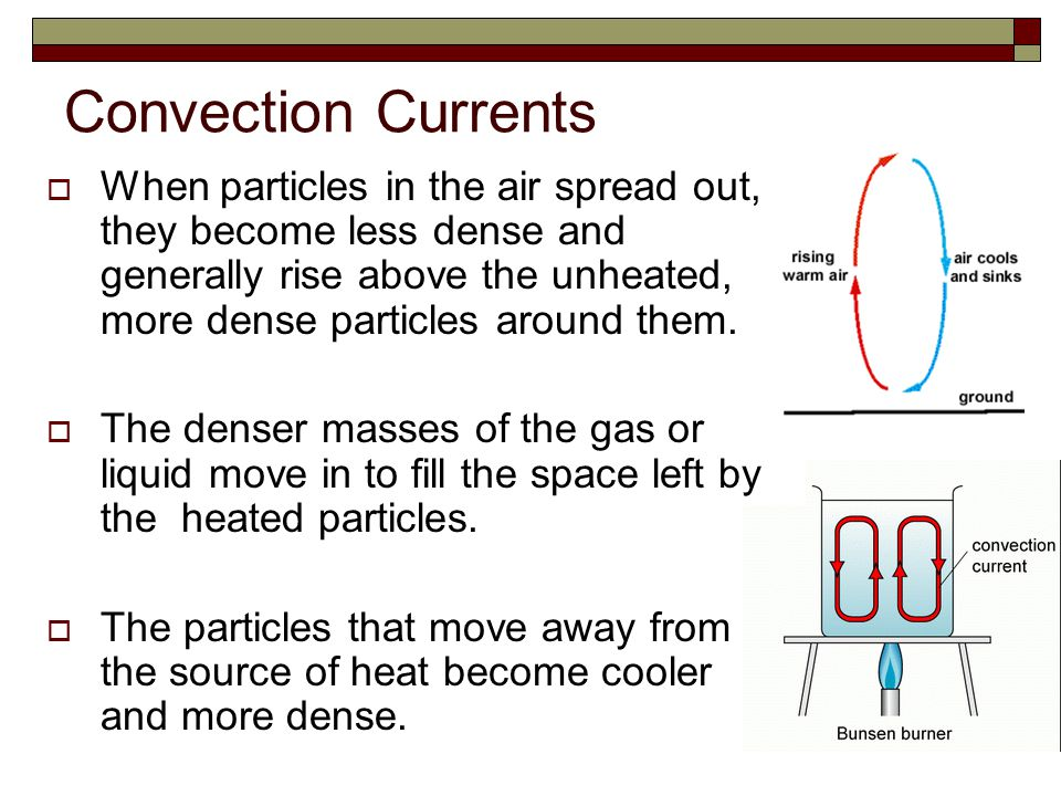 Convection Currents  When particles in the air spread out, they become less dense and generally rise above the unheated, more dense particles around