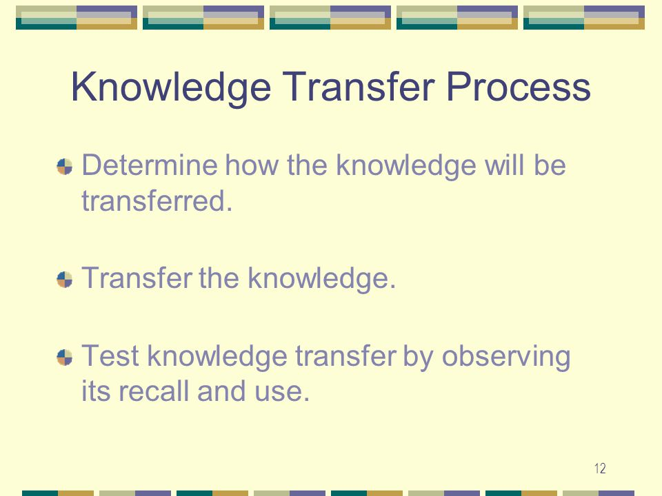 12 Knowledge Transfer Process Determine how the knowledge will be transferred. Transfer the knowledge. Test knowledge transfer by observing its recall