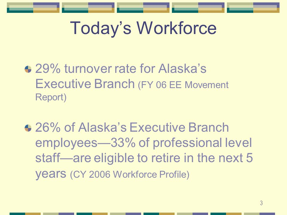 3 Today's Workforce 29% turnover rate for Alaska's Executive Branch (FY 06 EE Movement Report) 26% of Alaska's Executive Branch employees—33% of professional level staff—are eligible to retire in the next 5 years (CY 2006 Workforce Profile)