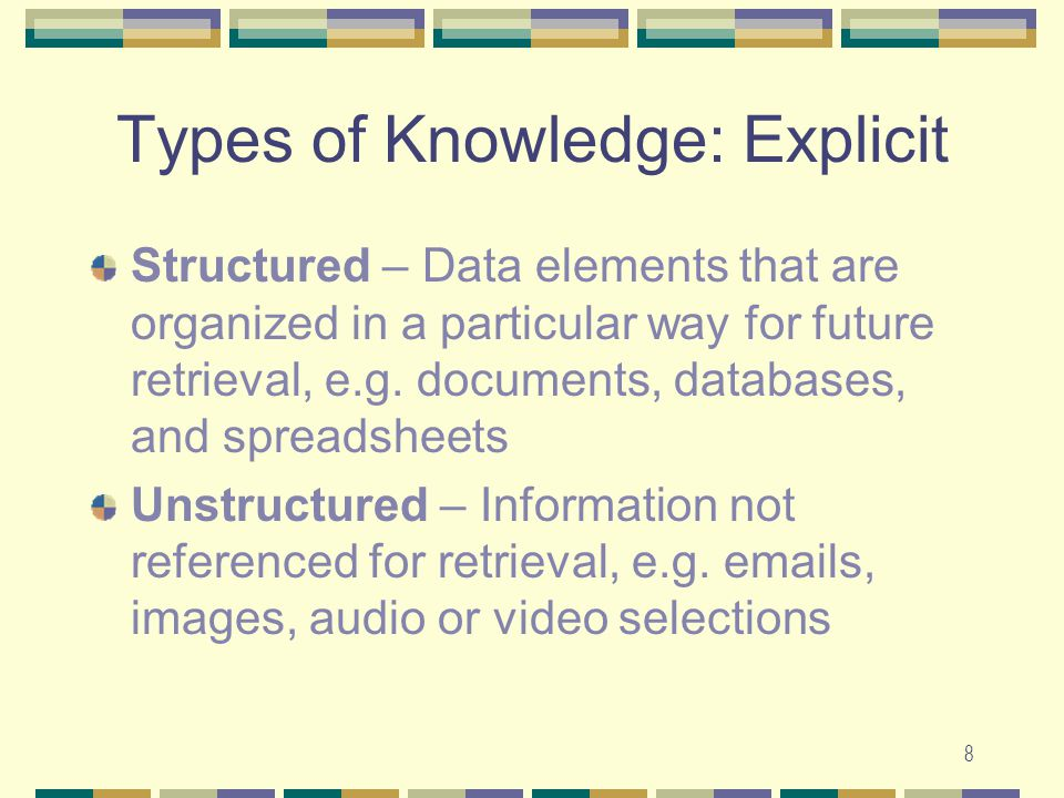 8 Types of Knowledge: Explicit Structured – Data elements that are organized in a particular way for future retrieval, e.g.