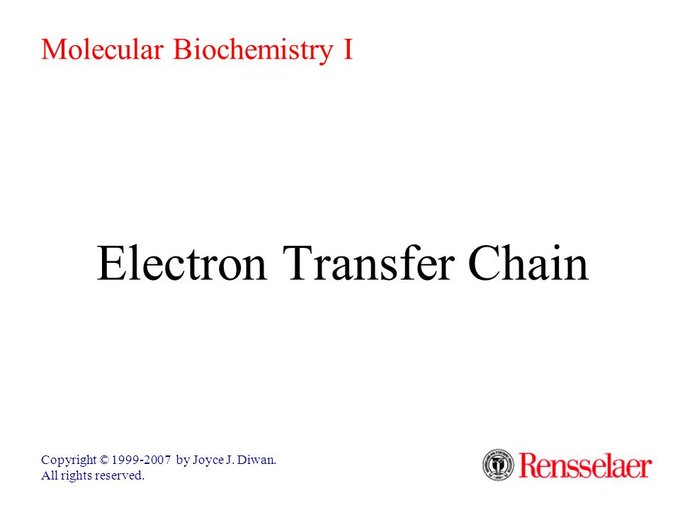 Electron Transfer Chain Copyright © 1999-2007 by Joyce J.