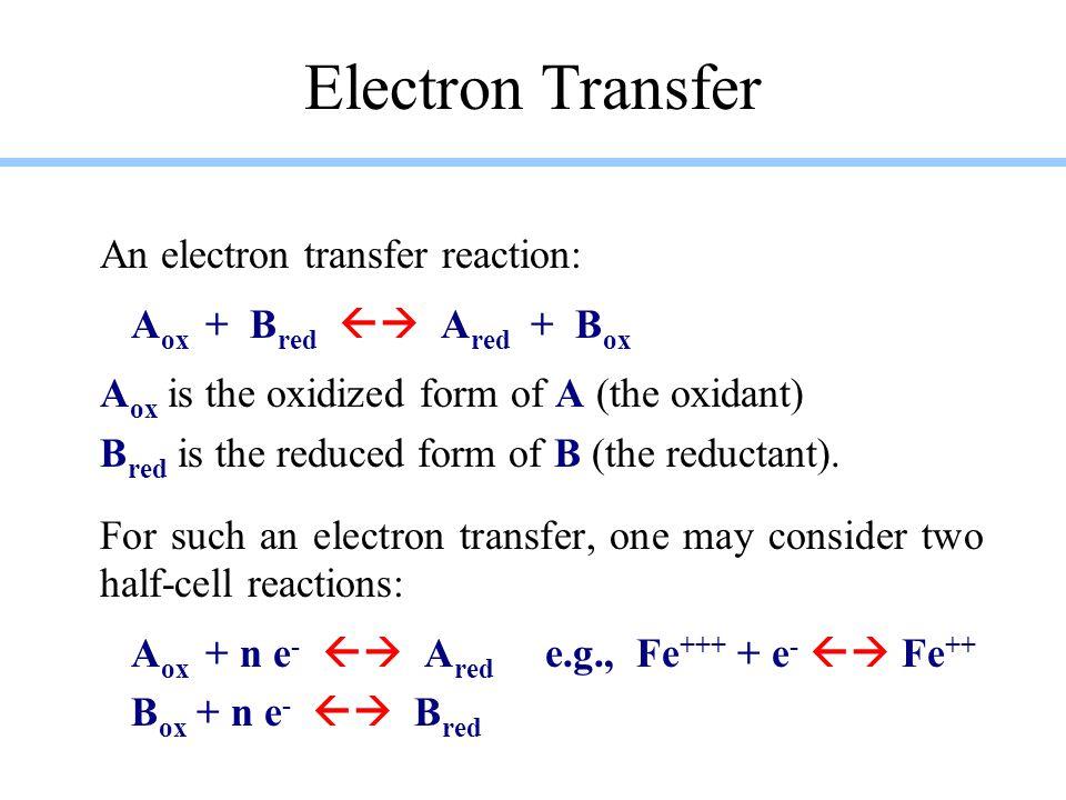 Electron Transfer An electron transfer reaction: A ox + B red  A red + B ox A ox is the oxidized form of A (the oxidant) B red is the reduced form o