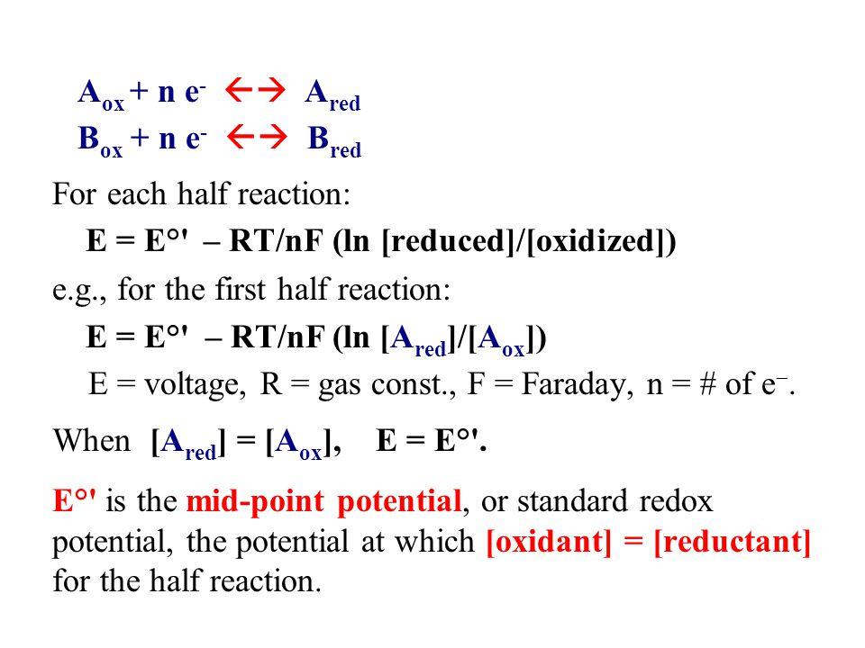 A ox + n e -  A red B ox + n e -  B red For each half reaction: E = E° – RT/nF (ln [reduced]/[oxidized]) e.g., for the first half reaction: E = E° – RT/nF (ln [A red ]/[A ox ]) E = voltage, R = gas const., F = Faraday, n = # of e .
