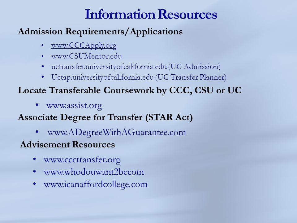 Information Resources Admission Requirements/Applications www.CCCApply.org www.CCCApply.org www.CSUMentor.edu uctransfer.universityofcalifornia.edu (U