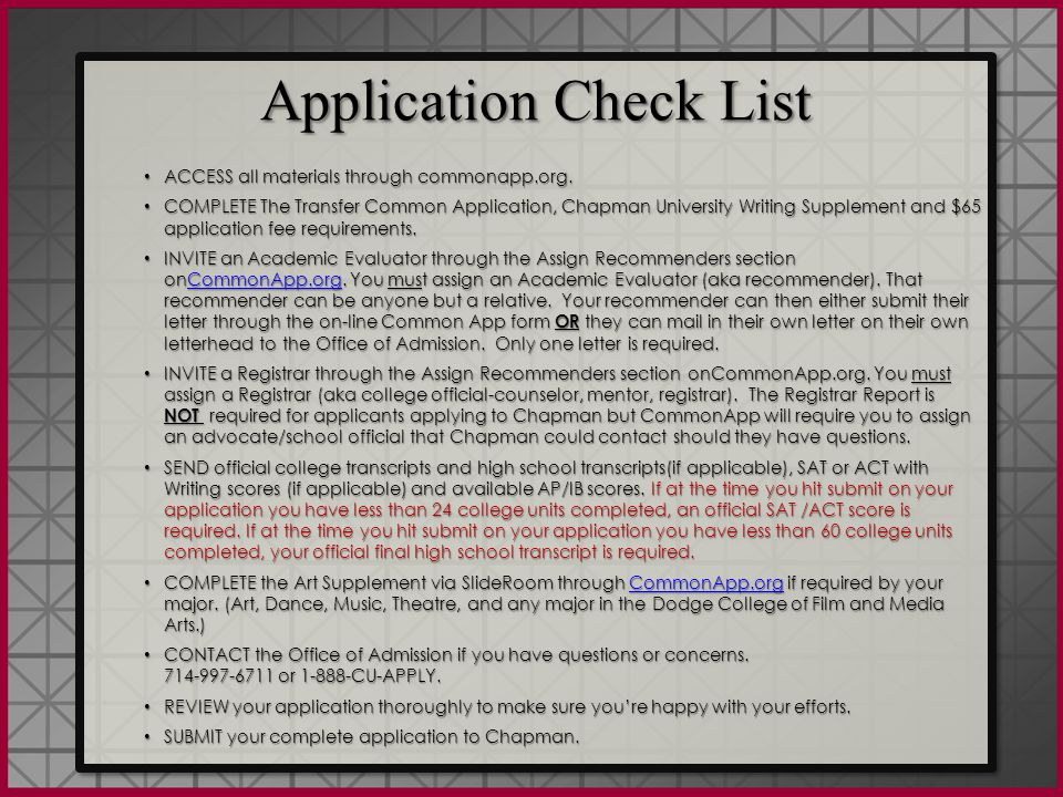 Recommender Invitations: Registrar INVITE a Registrar through the Assign Recommenders section on The Common Application: You must assign a Registrar (college official, counselor, mentor, or registrar).