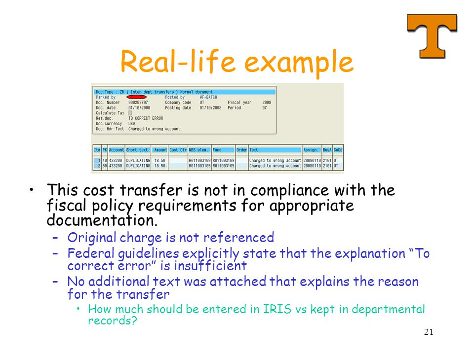21 Real-life example This cost transfer is not in compliance with the fiscal policy requirements for appropriate documentation.
