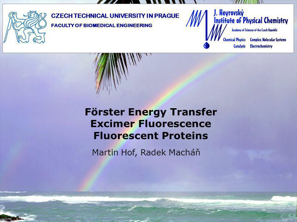 Förster Energy Transfer Excimer Fluorescence Fluorescent Proteins Martin Hof, Radek Macháň CZECH TECHNICAL UNIVERSITY IN PRAGUE FACULTY OF BIOMEDICAL