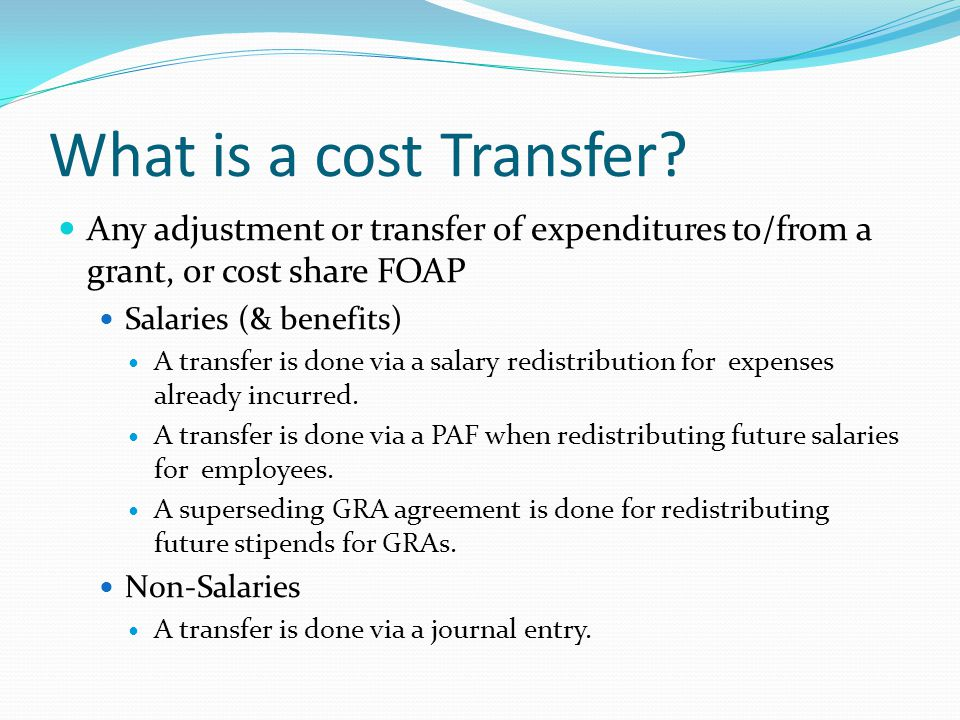 What is a cost Transfer.