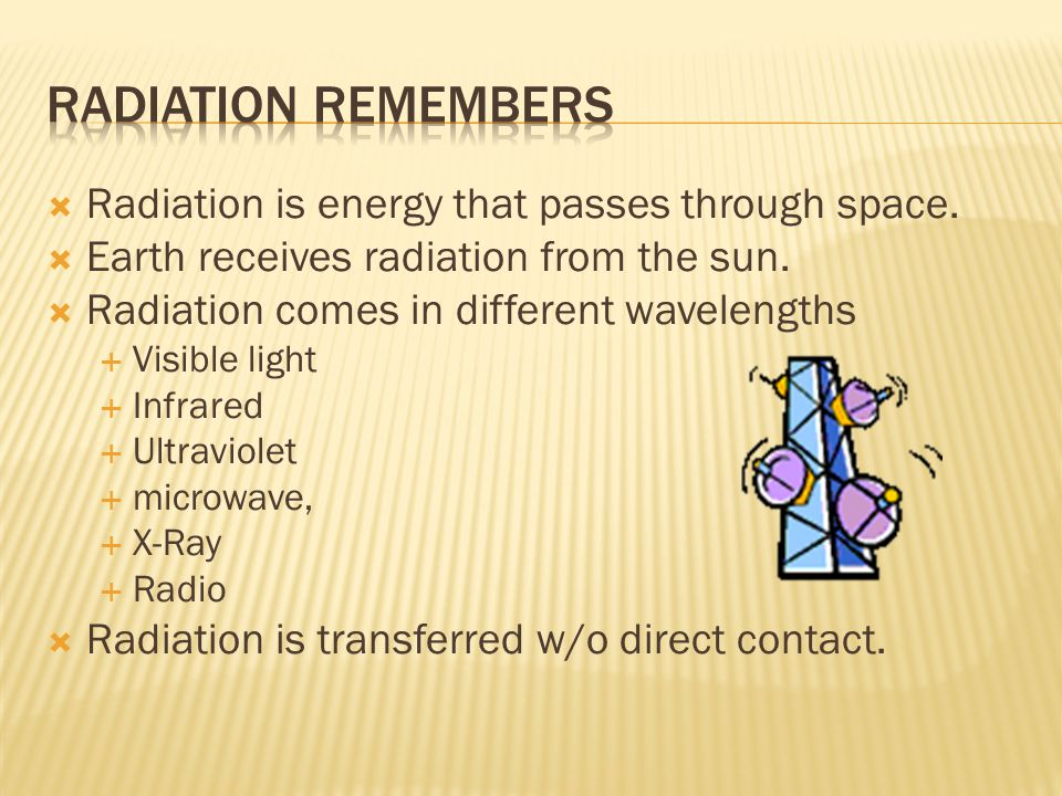  Radiation is energy that passes through space.  Earth receives radiation from the sun.  Radiation comes in different wavelengths  Visible light 