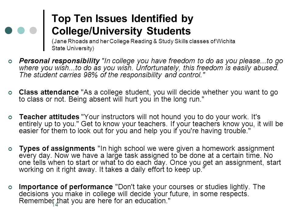 Top Ten Issues Identified by College/University Students ( Jane Rhoads and her College Reading & Study Skills classes of Wichita State University) Personal responsibility In college you have freedom to do as you please...to go where you wish...to do as you wish.