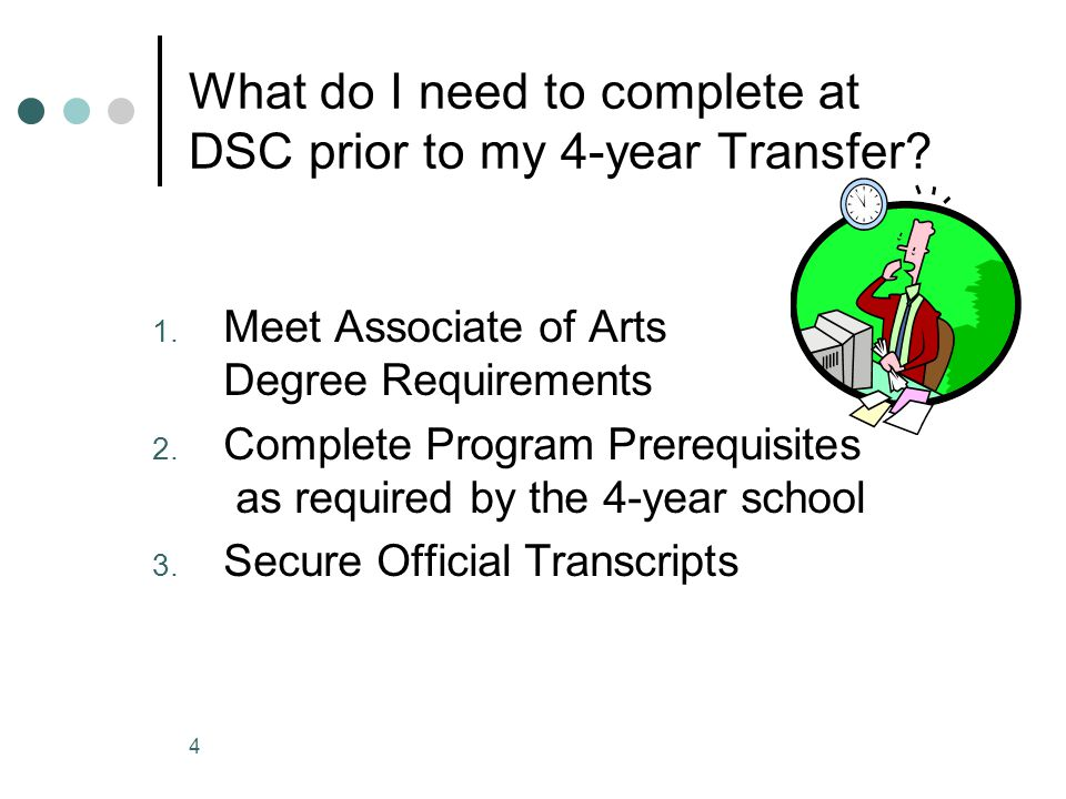 1. Meet Associate of Arts Degree Requirements 2.