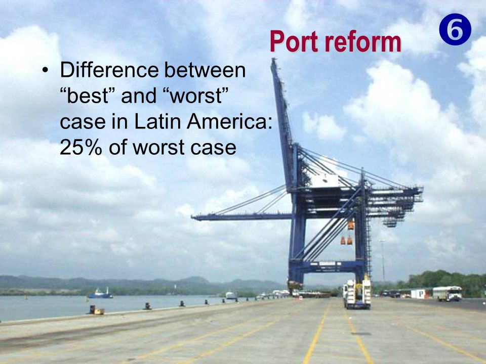 """Port reform Difference between """"best"""" and """"worst"""" case in Latin America: 25% of worst case """