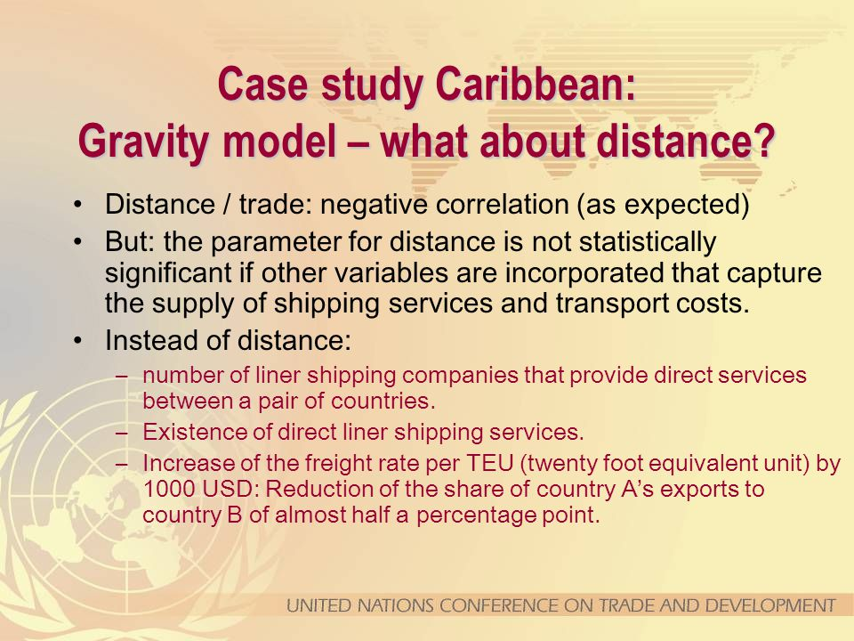 Case study Caribbean: Gravity model – what about distance.