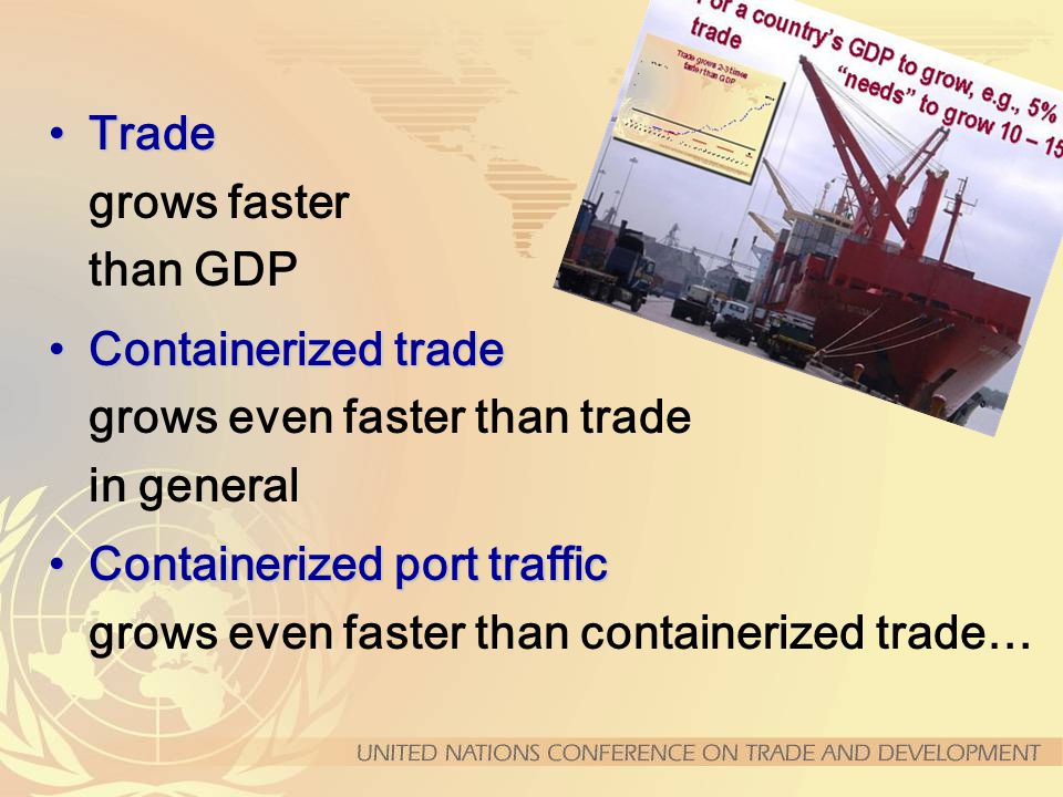 TradeTrade grows faster than GDP Containerized tradeContainerized trade grows even faster than trade in general Containerized port trafficContainerized port traffic grows even faster than containerized trade…
