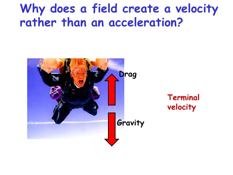 Why does a field create a velocity rather than an acceleration? Terminal velocity Gravity Drag
