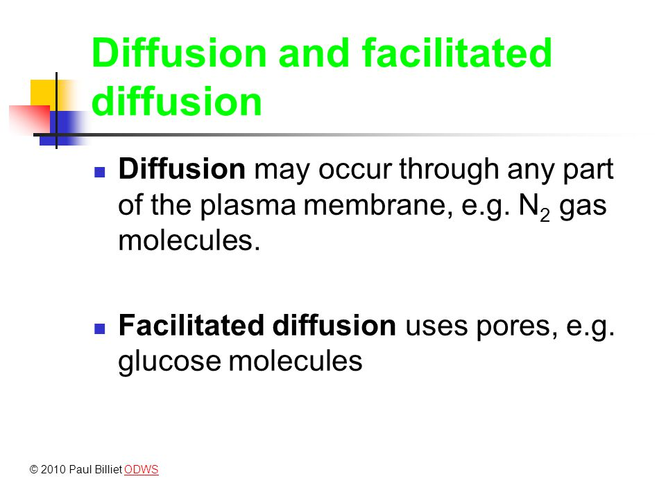 Diffusion and facilitated diffusion Facilitate diffusion Pores saturated Rate of transport Concentration Simple diffusion © 2010 Paul Billiet ODWSODWS