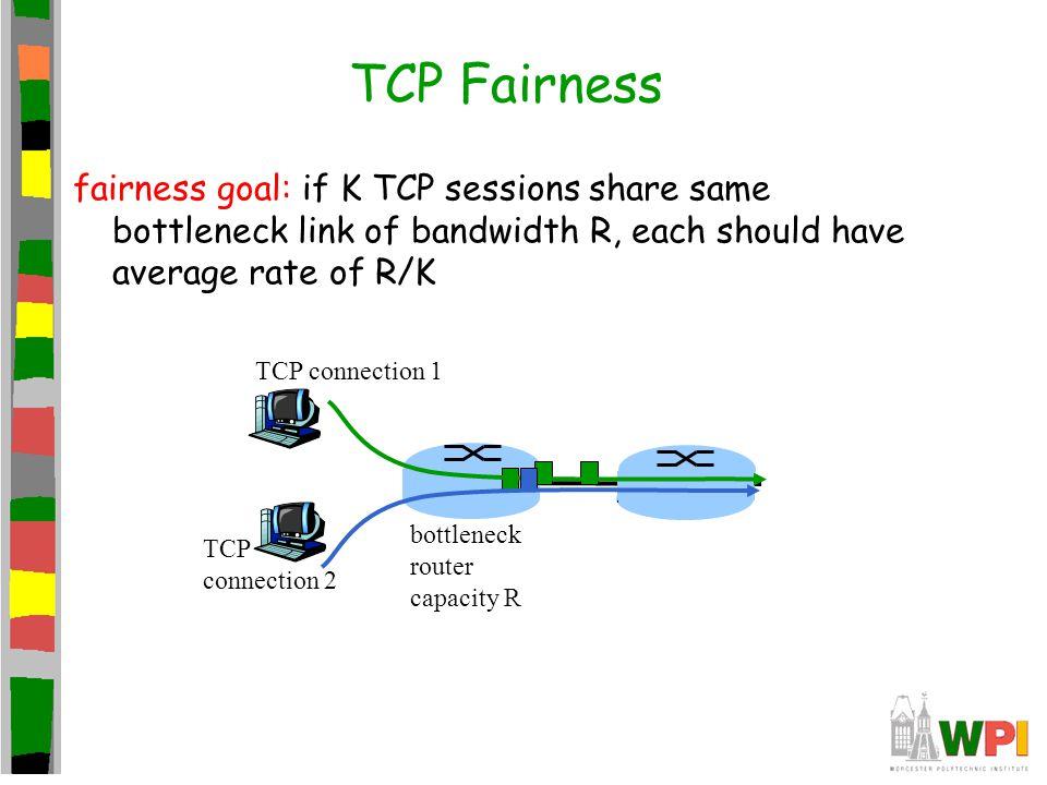fairness goal: if K TCP sessions share same bottleneck link of bandwidth R, each should have average rate of R/K TCP connection 1 bottleneck router ca