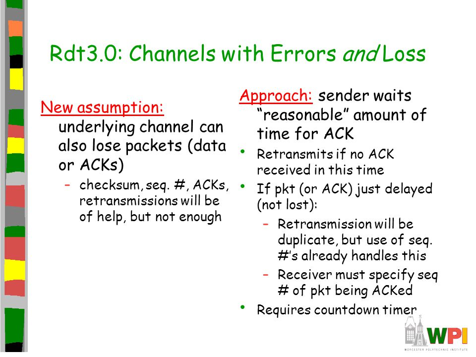 Rdt3.0: Channels with Errors and Loss New assumption: underlying channel can also lose packets (data or ACKs) –checksum, seq. #, ACKs, retransmissions