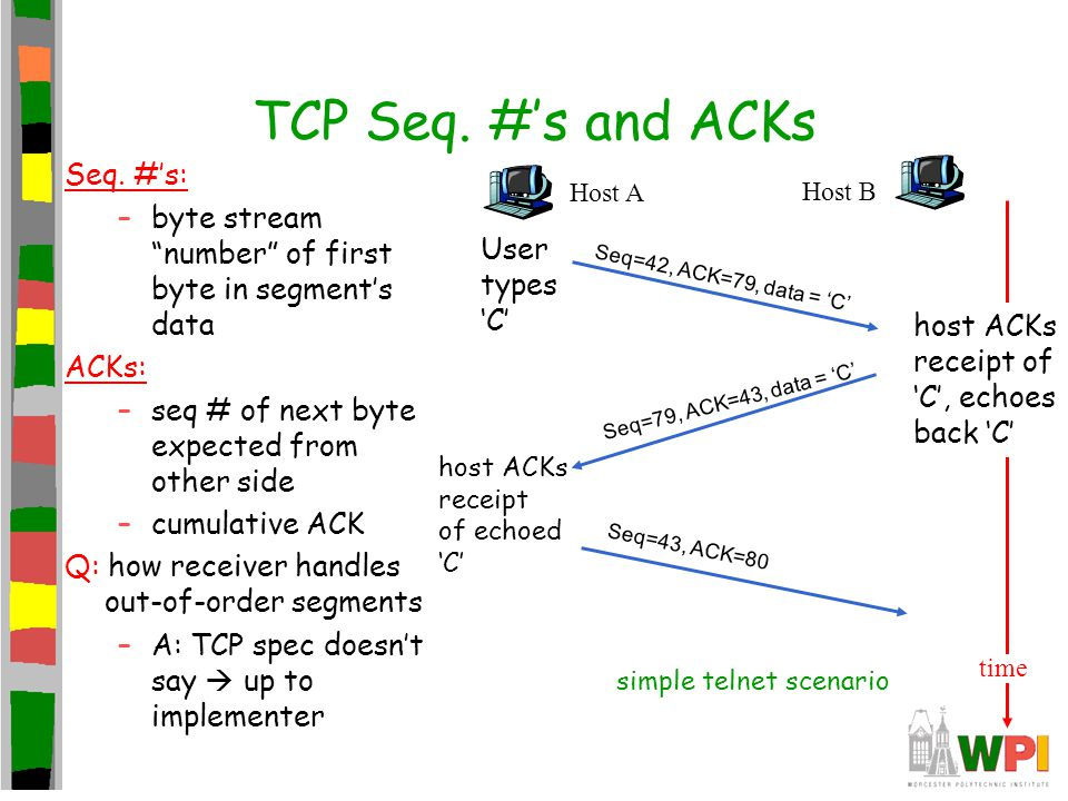 """TCP Seq. #'s and ACKs Seq. #'s: –byte stream """"number"""" of first byte in segment's data ACKs: –seq # of next byte expected from other side –cumulative A"""