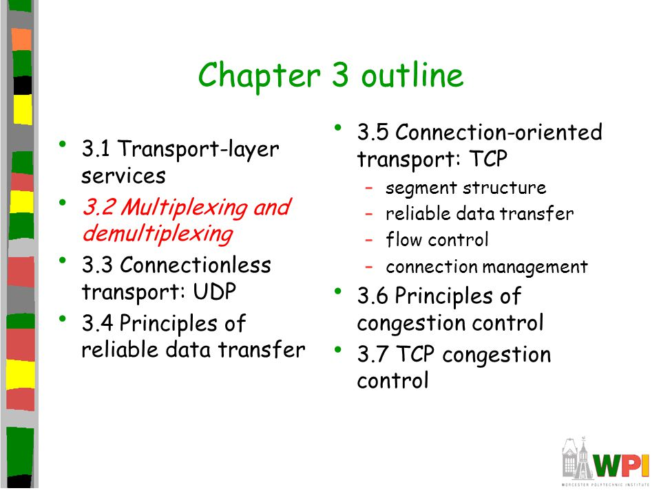 Chapter 3 outline 3.1 Transport-layer services 3.2 Multiplexing and demultiplexing 3.3 Connectionless transport: UDP 3.4 Principles of reliable data t