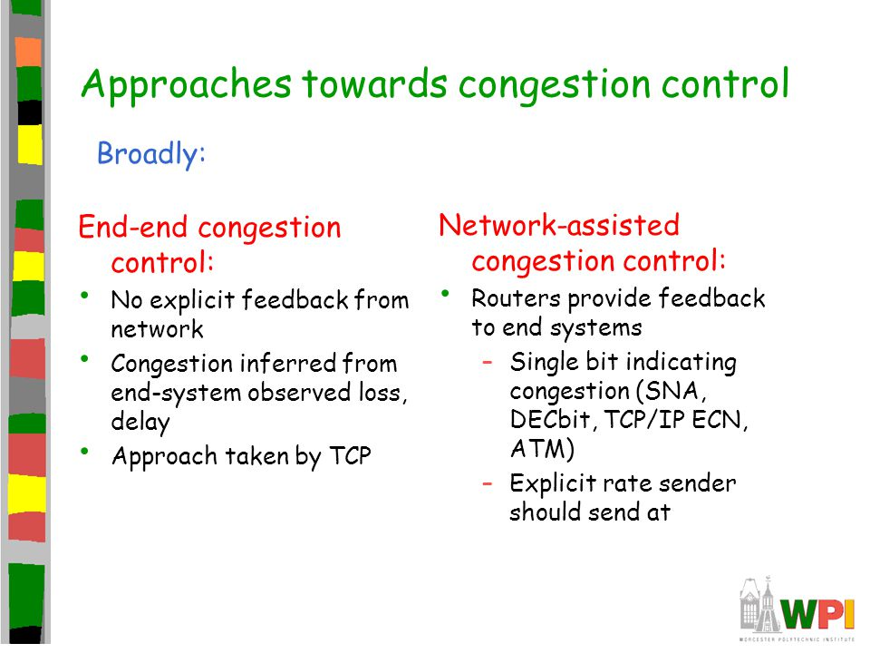 Approaches towards congestion control End-end congestion control: No explicit feedback from network Congestion inferred from end-system observed loss,