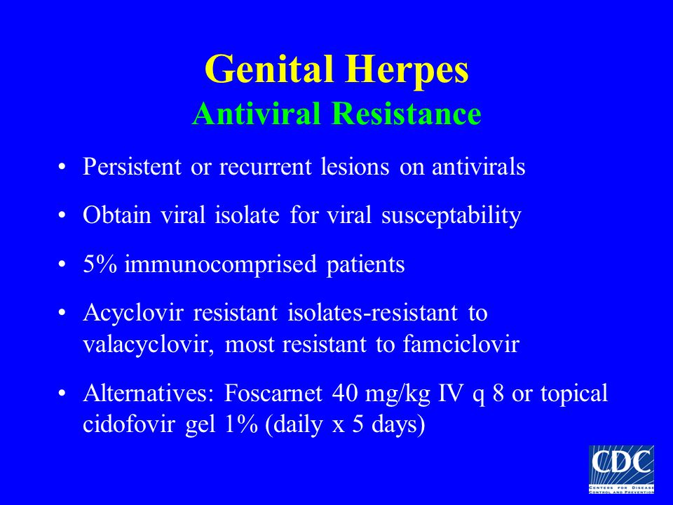 Genital Herpes Antiviral Resistance Persistent or recurrent lesions on antivirals Obtain viral isolate for viral susceptability 5% immunocomprised pat