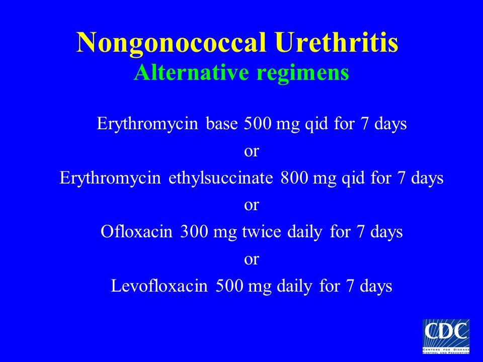 Nongonococcal Urethritis Alternative regimens Erythromycin base 500 mg qid for 7 days or Erythromycin ethylsuccinate 800 mg qid for 7 days or Ofloxaci