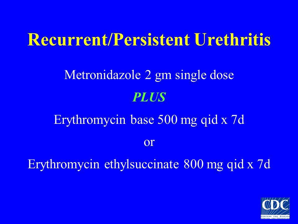 Recurrent/Persistent Urethritis Metronidazole 2 gm single dose PLUS Erythromycin base 500 mg qid x 7d or Erythromycin ethylsuccinate 800 mg qid x 7d