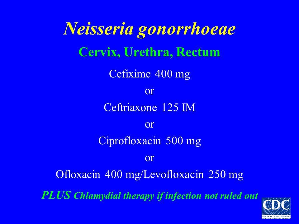 Neisseria gonorrhoeae Cervix, Urethra, Rectum Cefixime 400 mg or Ceftriaxone 125 IM or Ciprofloxacin 500 mg or Ofloxacin 400 mg/Levofloxacin 250 mg PL