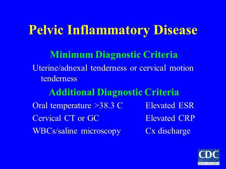 Pelvic Inflammatory Disease Minimum Diagnostic Criteria Uterine/adnexal tenderness or cervical motion tenderness Additional Diagnostic Criteria Oral t