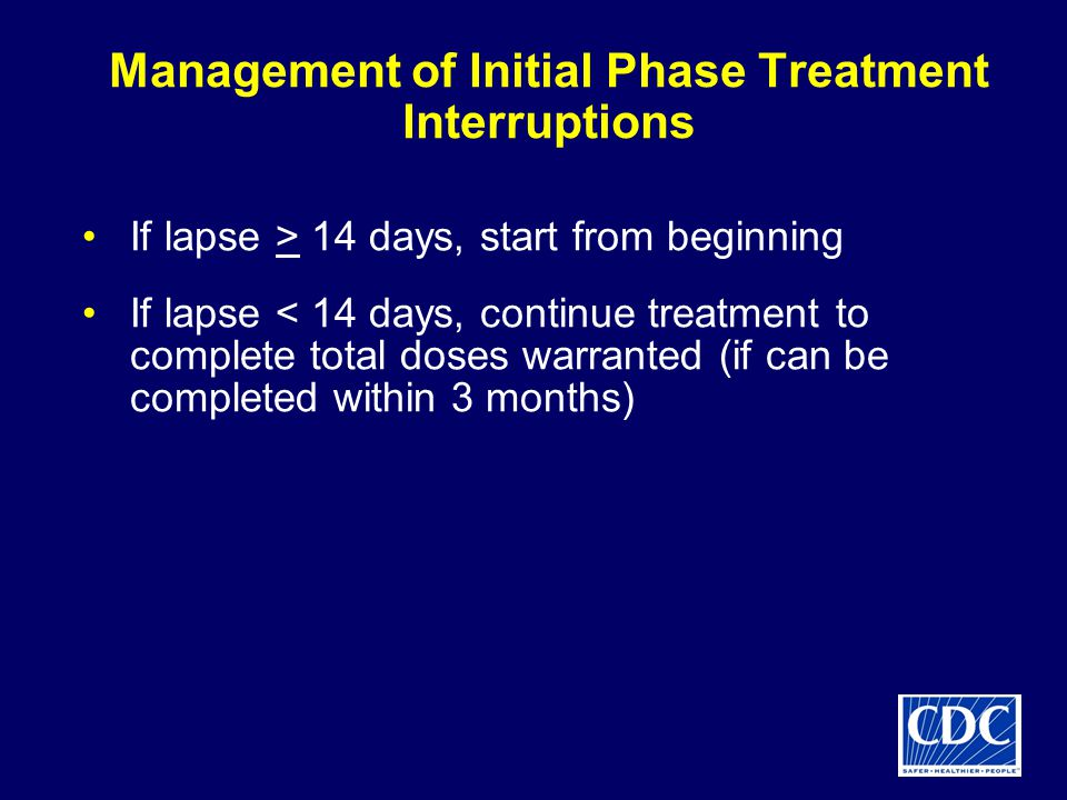 Management of Initial Phase Treatment Interruptions If lapse > 14 days, start from beginning If lapse < 14 days, continue treatment to complete total doses warranted (if can be completed within 3 months)