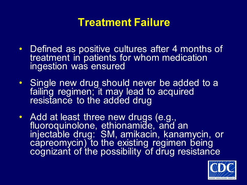 Treatment Failure Defined as positive cultures after 4 months of treatment in patients for whom medication ingestion was ensured Single new drug should never be added to a failing regimen; it may lead to acquired resistance to the added drug Add at least three new drugs (e.g., fluoroquinolone, ethionamide, and an injectable drug: SM, amikacin, kanamycin, or capreomycin) to the existing regimen being cognizant of the possibility of drug resistance