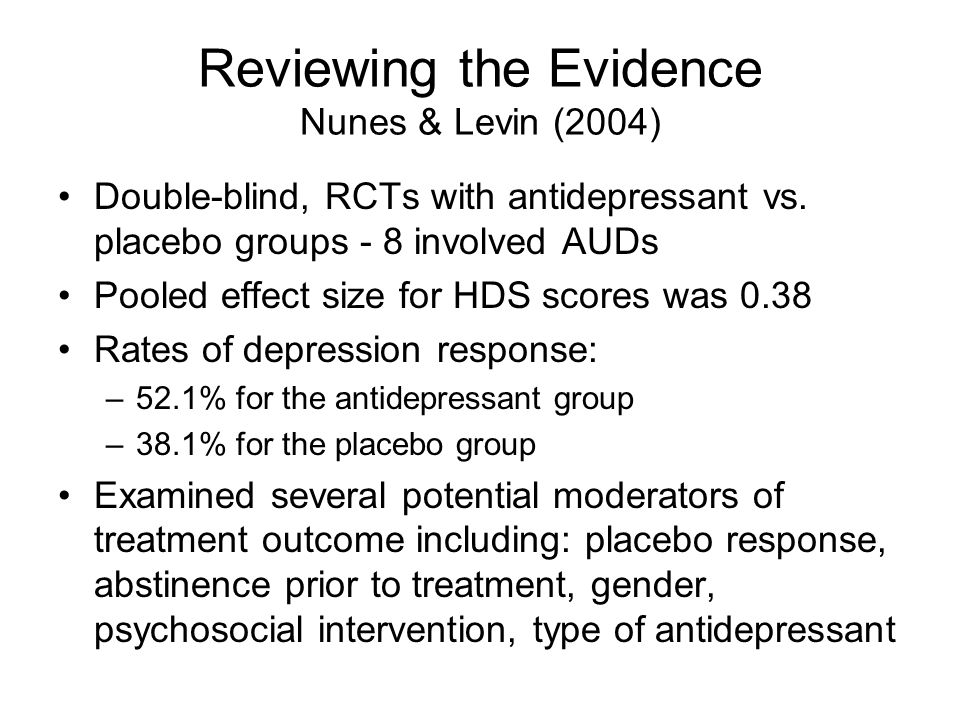 Double-blind, RCTs with antidepressant vs.