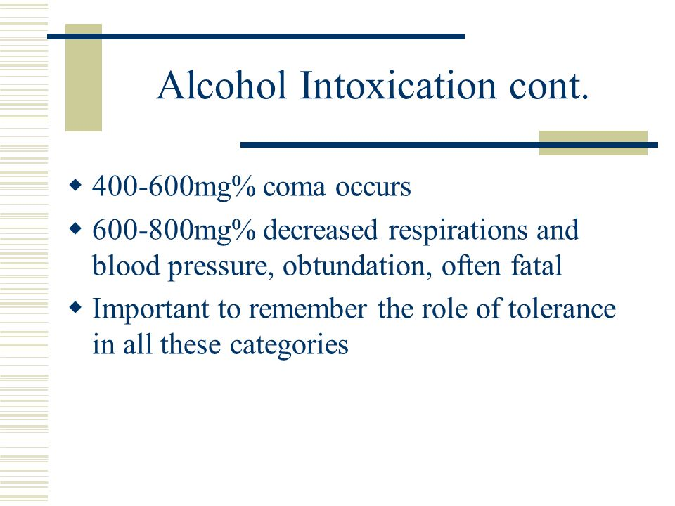 Management of Alcohol Intoxication  Cardiovascular and respiratory support to control blood pressure and maintain airway  Intravenous fluids ( Banana Bag-NS, thiamine, MVI, Folate, B-12)  Assess for other drug use especially benzo's or opioids as antagonists can be used  Closely monitor until withdrawal begins and then start treatment