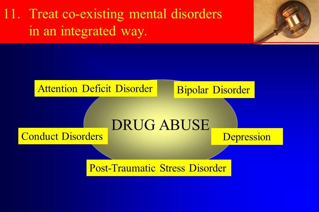 11.Treat co-existing mental disorders in an integrated way.