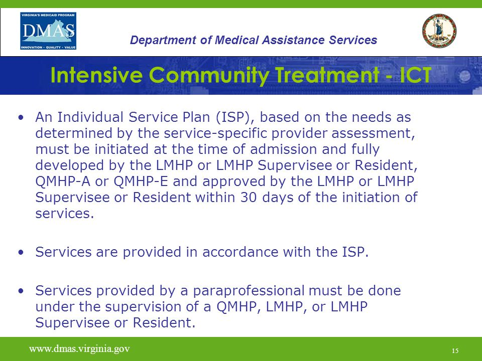 15 Intensive Community Treatment - ICT An Individual Service Plan (ISP), based on the needs as determined by the service-specific provider assessment, must be initiated at the time of admission and fully developed by the LMHP or LMHP Supervisee or Resident, QMHP-A or QMHP-E and approved by the LMHP or LMHP Supervisee or Resident within 30 days of the initiation of services.