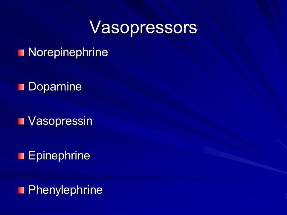 Vasopressors NorepinephrineDopamineVasopressinEpinephrinePhenylephrine